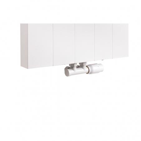 Zawór termostatyczny zespolony Multiflow biały, figura kątowa prawa, podłączony do grzejnika dekoracyjnego SPL20 160x50 w kolorze białym.