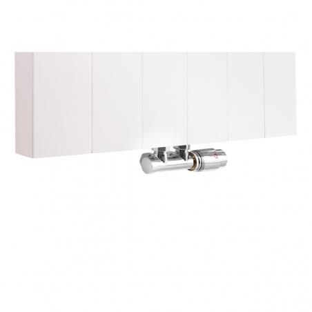 Zawór termostatyczny zespolony Multiflow chrom, figura kątowa prawa, podłączony do grzejnika dekoracyjnego SPL20 160x60 w kolorze białym.