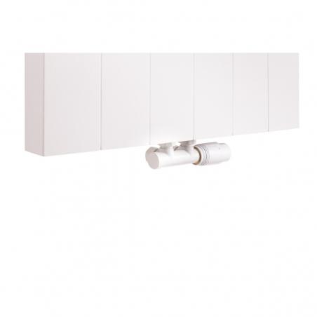 Zawór termostatyczny zespolony Multiflow biały, figura kątowa prawa, podłączony do grzejnika dekoracyjnego SPL20 160x60 w kolorze białym.