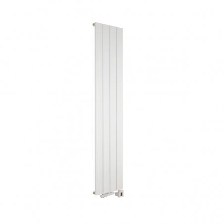 Grzejnik dekoracyjny pionowy wodno-elektryczny biały Drama, o wymiarach 180x37 z podłączonym zaworem termostatycznym biały, w figurze kątowej lewej, oraz grzałką elektryczną MOA 600W białą.