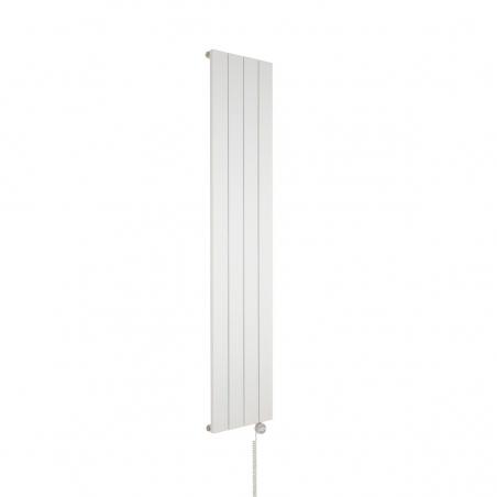 Grzejnik dekoracyjny pionowy elektryczny Drama biały, 180x37 z grzałką elektryczną MOA 600W białą.