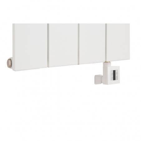 Grzałka KTX4 600W biała, podłączona do grzejnika dekoracyjnego Drama 180x37 białego.