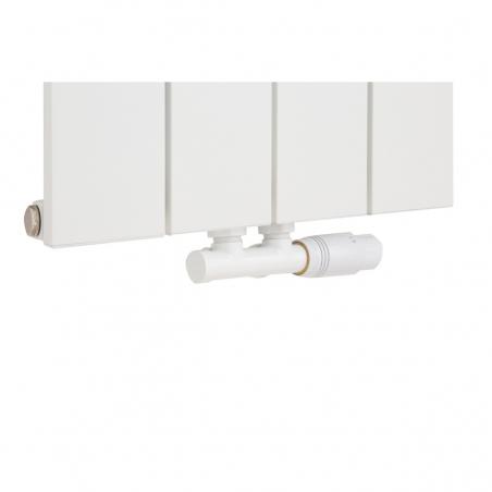 Zawór termostatyczny zespolony Multiflow biały, w figurze kątowej prawej podłączony do grzejnika dekoracyjnego pionowego Drama 180x37 białego.