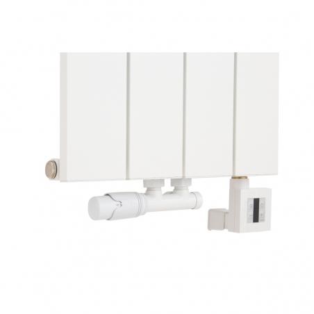 Zawór termostatyczny Multiflow w kolorze białym w figurze lewej, oraz grzałka KTX4 600W biała podłączone do grzejnika dekoracyjnego Drama 180x37 białego.