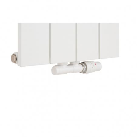 Zawór termostatyczny zespolony Twins w kolorze białym , figura kątowa biała podłączony do grzejnika dekoracyjnego pionowego Drama 180x37 białego.