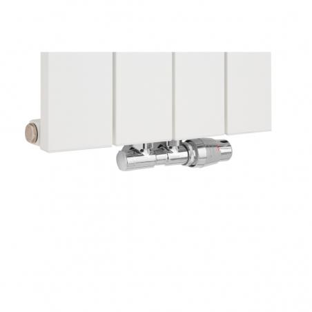 Zawór termostatyczny zespolony Twins w kolorze chrom , figura kątowa biała podłączony do grzejnika dekoracyjnego pionowego Drama 180x37 białego.