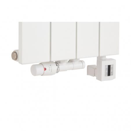 Zawór termostatyczny Twisn w kolorze białym w figurze lewej, oraz grzałka KTX4 600W biała podłączone do grzejnika dekoracyjnego Drama 180x37 białego.