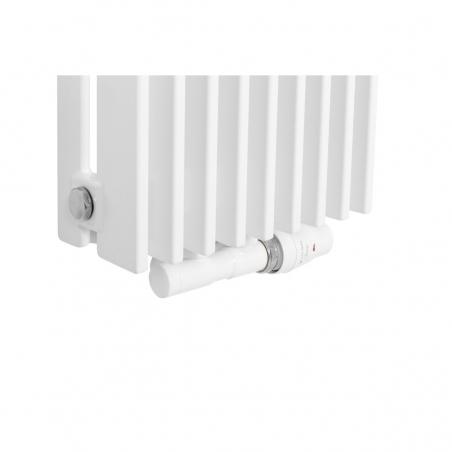 Zawór termostatyczny zespolony Twins biały, w figurze kątowej prawej, dopasowany do grzejnika dekoracyjnego Samum 1, o wymiarach 180x25 białego.