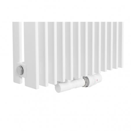 Zawór termostatyczny zespolony Twins biały, w figurze kątowej prawej, dopasowany do grzejnika dekoracyjnego Samum 1, o wymiarach 180x37 białego.