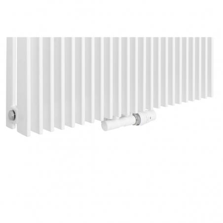 Zawór termostatyczny zespolony Twins biały, w figurze kątowej prawej, dopasowany do grzejnika dekoracyjnego Samum 1, o wymiarach 180x67 białego.