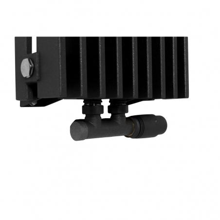 Zawór termostatyczny zespolony Multiflow grafitowy, w figurze kątowej prawej, dopasowany do grzejnika dekoracyjnego Samum 1, o wymiarach 180x25 grafitowego.
