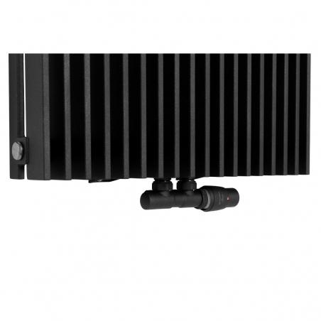 Zawór termostatyczny zespolony Twins grafitowy, w figurze kątowej prawej, dopasowany do grzejnika dekoracyjnego Samum 1, o wymiarach 180x52 grafitowego.