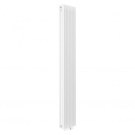 Grzejnik dekoracyjny Samum 2, 180x25 biały, z dopasowanym zaworem termostatycznym zespolonym Twins w kolorze białym, w figurze kątowej prawej.