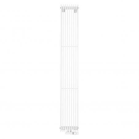 Grzejnik dekoracyjny pionowy Samum , o wymiarach 180x25 w kolorze białym, z dopasowanym kolorystycznie zaworem termostatycznym zespolonym Twins, w figurze kątowej prawej.