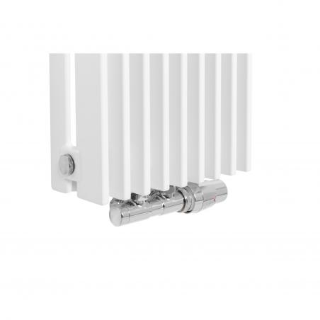 Zawór termostatyczny zespolony Twins chrom, w figurze kątowej prawej, dopasowany do grzejnika dekoracyjnego Samum 2, o wymiarach 180x25 białego.
