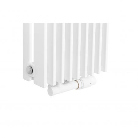 Zawór termostatyczny zespolony Twins biały, w figurze kątowej prawej, dopasowany do grzejnika dekoracyjnego Samum 2, o wymiarach 180x25 białego.