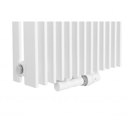 Zawór termostatyczny zespolony Twins biały, w figurze kątowej prawej, dopasowany do grzejnika dekoracyjnego Samum 2, o wymiarach 180x37 białego.