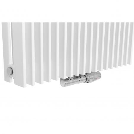 Zawór termostatyczny zespolony Twins chrom, w figurze kątowej prawej, dopasowany do grzejnika dekoracyjnego Samum 2, o wymiarach 180x52 białego.