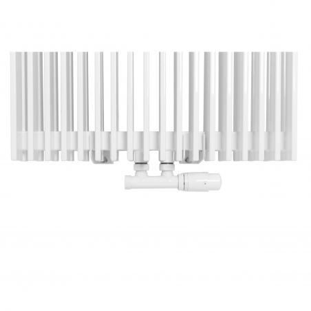 Zawór termostatyczny zespolony Multiflow biały, w figurze kątowej prawej, dopasowany do grzejnika dekoracyjnego Samum 2, o wymiarach 180x52 białego.