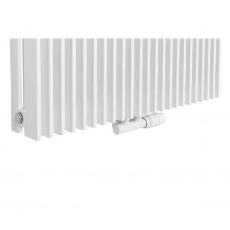 Zawór termostatyczny zespolony Multiflow biały, w figurze kątowej prawej, dopasowany do grzejnika dekoracyjnego Samum 2, o wymiarach 180x67 białego.