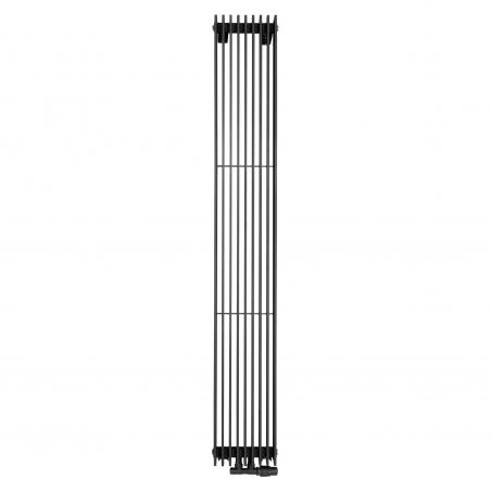 Grzejnik dekoracyjny pionowy Samum , o wymiarach 180x25 w kolorze grafit, z dopasowanym kolorystycznie zaworem termostatycznym zespolonym Twins, w figurze kątowej prawej.