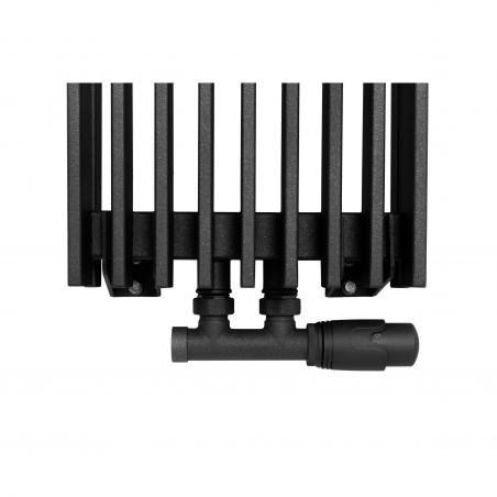 Zawór termostatyczny zespolony Twins grafit, w figurze kątowej prawej, dopasowany do grzejnika dekoracyjnego Samum 2, o wymiarach 180x25 grafitowego.