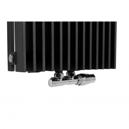 Zawór termostatyczny zespolony Twins chrom, w figurze kątowej prawej, dopasowany do grzejnika dekoracyjnego Samum 2, o wymiarach 180x37 grafitowego.