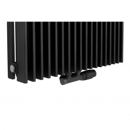 Zawór termostatyczny zespolony Multiflow grafit, w figurze kątowej prawej, dopasowany do grzejnika dekoracyjnego Samum 2, o wymiarach 180x52 grafitowego.