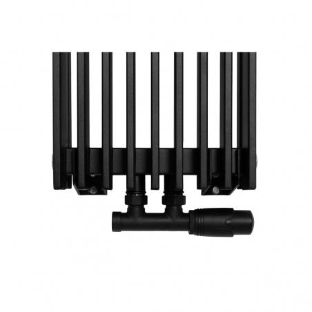 Zawór termostatyczny zespolony Multiflow czarny, w figurze kątowej prawej, dopasowany do grzejnika dekoracyjnego Samum 1, o wymiarach 180x25 czarnego.