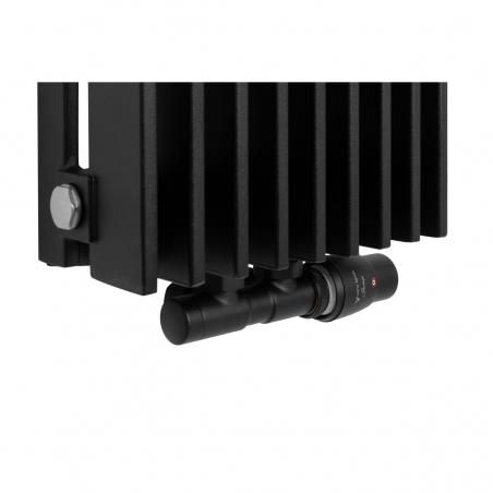 Zawór termostatyczny zespolony Twins czarny, w figurze kątowej prawej, dopasowany do grzejnika dekoracyjnego Samum 1, o wymiarach 180x25 czarnego.