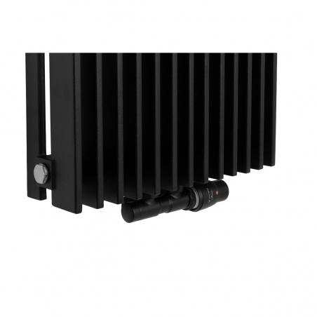 Zawór termostatyczny zespolony Twins czarny, w figurze kątowej prawej, dopasowany do grzejnika dekoracyjnego Samum 1, o wymiarach 180x37 czarnego.