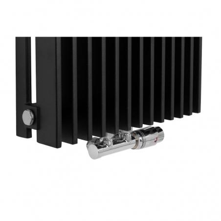 Zawór termostatyczny zespolony Multiflow chrom, w figurze kątowej prawej, dopasowany do grzejnika dekoracyjnego Samum 1, o wymiarach 180x37 czarnego.