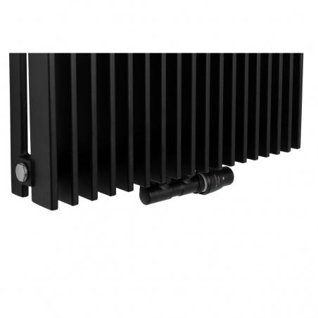 Zawór termostatyczny zespolony Twins czarny, w figurze kątowej prawej, dopasowany do grzejnika dekoracyjnego Samum 1, o wymiarach 180x52 czarnego.