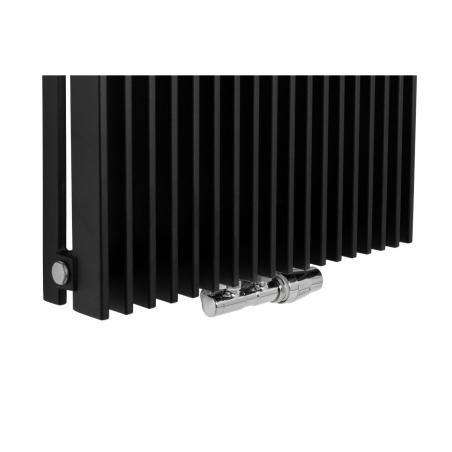 Zawór termostatyczny zespolony Twins chrom, w figurze kątowej prawej, dopasowany do grzejnika dekoracyjnego Samum 1, o wymiarach 180x52 czarnego.