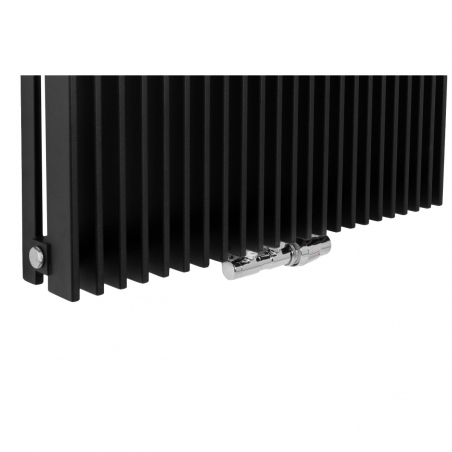 Zawór termostatyczny zespolony Twins chrom, w figurze kątowej prawej, dopasowany do grzejnika dekoracyjnego Samum 1, o wymiarach 180x67 czarnego.