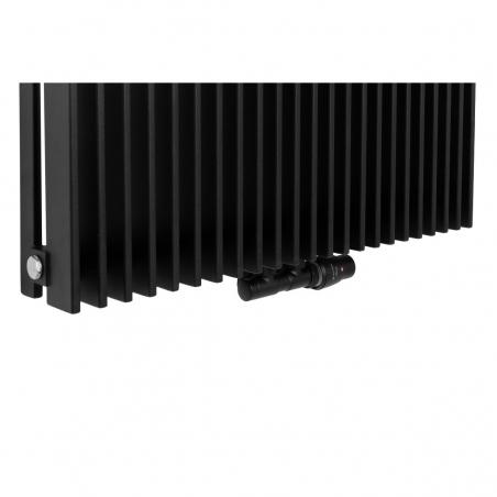 Zawór termostatyczny zespolony Twins czarny, w figurze kątowej prawej, dopasowany do grzejnika dekoracyjnego Samum 1, o wymiarach 180x67 czarnego.
