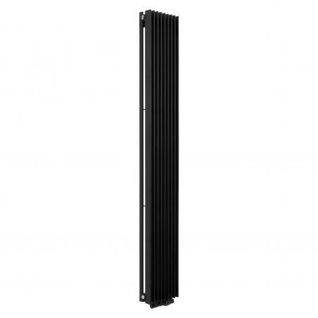Grzejnik dekoracyjny Samum 2, 180x25 czarny, z dopasowanym zaworem termostatycznym zespolonym Twins w kolorze czarnym, w figurze kątowej prawej.