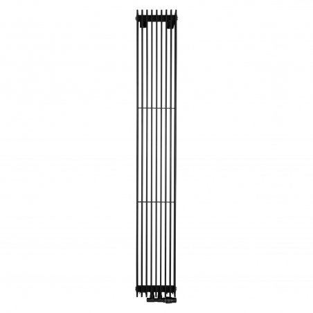 Grzejnik dekoracyjny pionowy Samum , o wymiarach 180x25 w kolorze czarnego matu, z dopasowanym kolorystycznie zaworem termostatycznym zespolonym Twins, w figurze kątowej prawej.