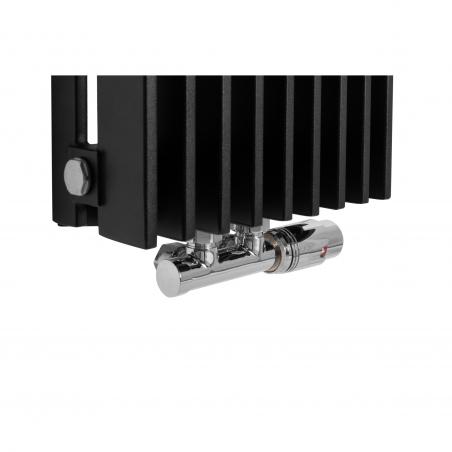 Zawór termostatyczny zespolony Twins chrom, w figurze kątowej prawej, dopasowany do grzejnika dekoracyjnego Samum 2, o wymiarach 180x25 czarnego.