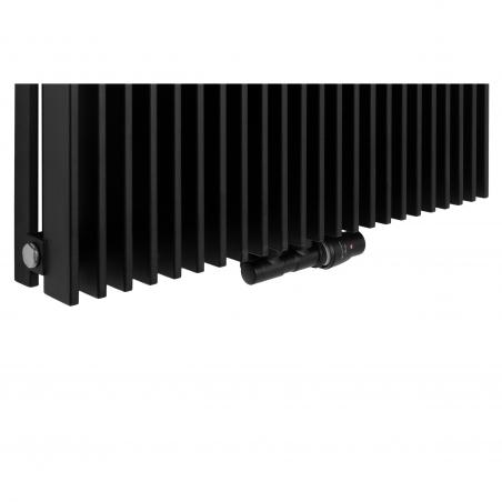 Zawór termostatyczny zespolony Twins czarny, w figurze kątowej prawej, dopasowany do grzejnika dekoracyjnego Samum 2, o wymiarach 180x67 czarnego.
