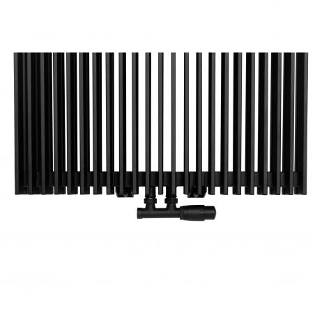 Zawór termostatyczny zespolony Multoflow czarny, w figurze kątowej prawej, dopasowany do grzejnika dekoracyjnego Samum 2, o wymiarach 180x67 czarnego.