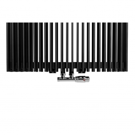 Zawór termostatyczny zespolony Multoflow chrom, w figurze kątowej prawej, dopasowany do grzejnika dekoracyjnego Samum 2, o wymiarach 180x67 czarnego.