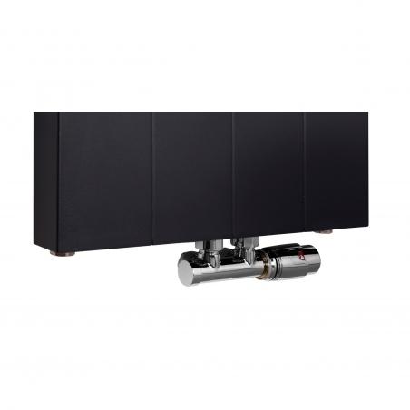 Zawór termostatyczny zespolony Multiflow chrom, w figurze kątowej prawej dopasowany do grzejnika dekoracyjnego SPL10, 160x40 czarnego.