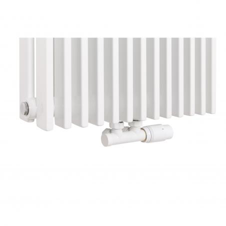 Zawór termostatyczny zespolony Multiflow w figurze kątowej prawej koloru białego.