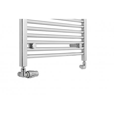 Zestaw termostatyczny Interga chrom figura lewa, zamocowany na grzejniku łazienkowym chromowanym Constans 180x60.