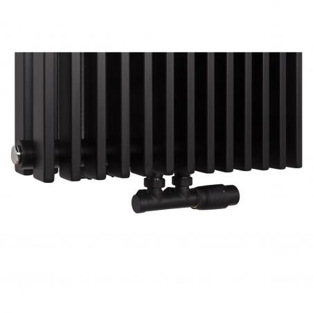 Zawór termostatyczny zespolony Multiflow czarny, w figurze kątowej prawej dopasowany do grzejnika dekoracyjnego pionowego Highliner 2 czarnego, w rozmiarze 180x46.