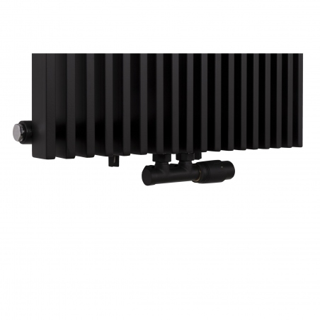 Zawór termostatyczny zespolony Multiflow w kolorze czarnym, figura kątowa prawa.