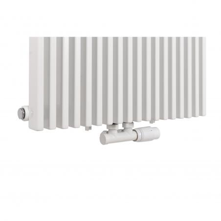 Zawór termostatyczny zespolony Multiflow w kolorze białym, figura kątowa prawa, dopasowany do grzejnika dekoracyjnego Highliner 1 białego, w rozmiarze 180x54.