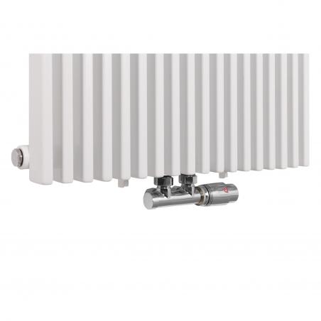 Zawór termostatyczny zespolony Multiflow w kolorze chrom, w figurze kątowej prawej, dopasowany do grzejnika dekoracyjnego pionowego Highliner 1 białego, o wymiarach 180x54.