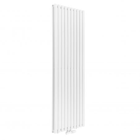 Grzejnik dekoracyjny Ultimate 2, 180x60 kolor biały, z zaworem termostatycznym zespolonym Multiflow figura kątowa prawa w kolorze białym.